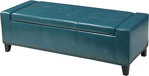 Christopher Knight Home Chelsea PU Storage Ottoman with Studs, Teal