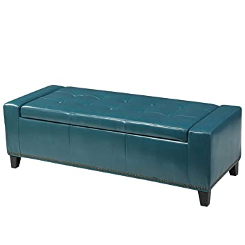 Miraculous Christopher Knight Home Living Robin Studded Teal Leather Storage Ottoman Bench Pdpeps Interior Chair Design Pdpepsorg