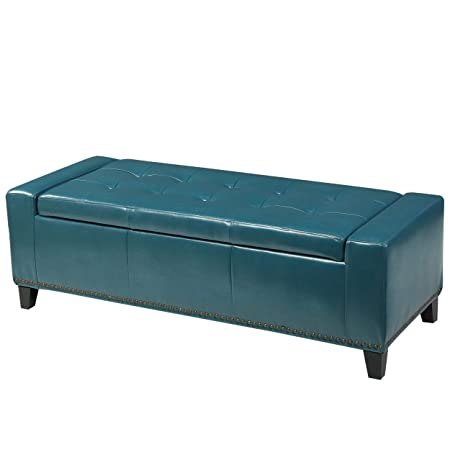 Christopher Knight Home 296761 Living Robin Studded Teal Leather Storage Ottoman Bench,
