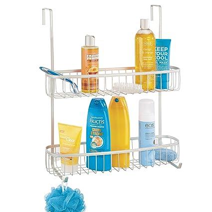 mDesign Estanterías de baño para colgar – Práctico colgador de ducha sin  taladro – Estantes para de50816561d7