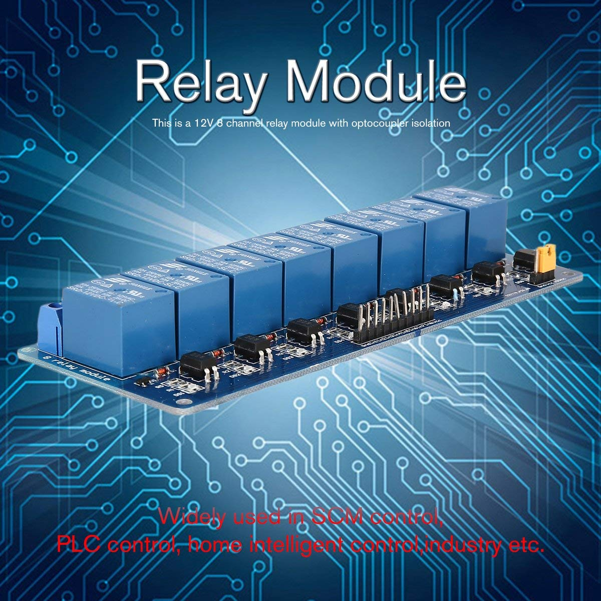 Gugutogo 12V 8 Channel Relay Module Interface Board Low Level Trigger Optocoupler for Arduino SCM PLC Smart Home Remote Control Switch