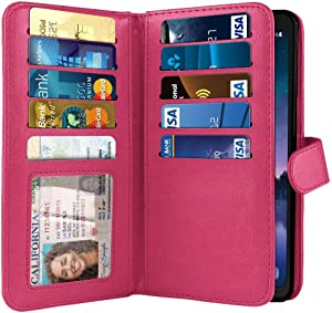 NEXTKIN Case Compatible with Samsung Galaxy S8 Active G892A 5.8 inch, Dual Wallet Folio TPU Cover, Pockets Double Flap, Card Slots Button Strap for Galaxy S8 Active (NOT FIT S8/ S8 Plus) - Hot Pink