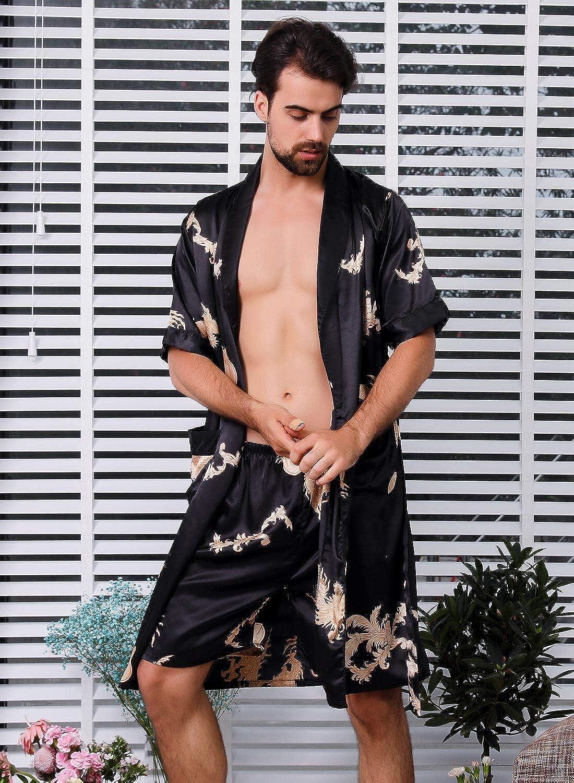 AIEOE Hombres Pijamas de Albornoz Ba/ño Sat/én de Verano Ropa de Dormir Pantalones Cortos de Tallas Grandes para Hombre