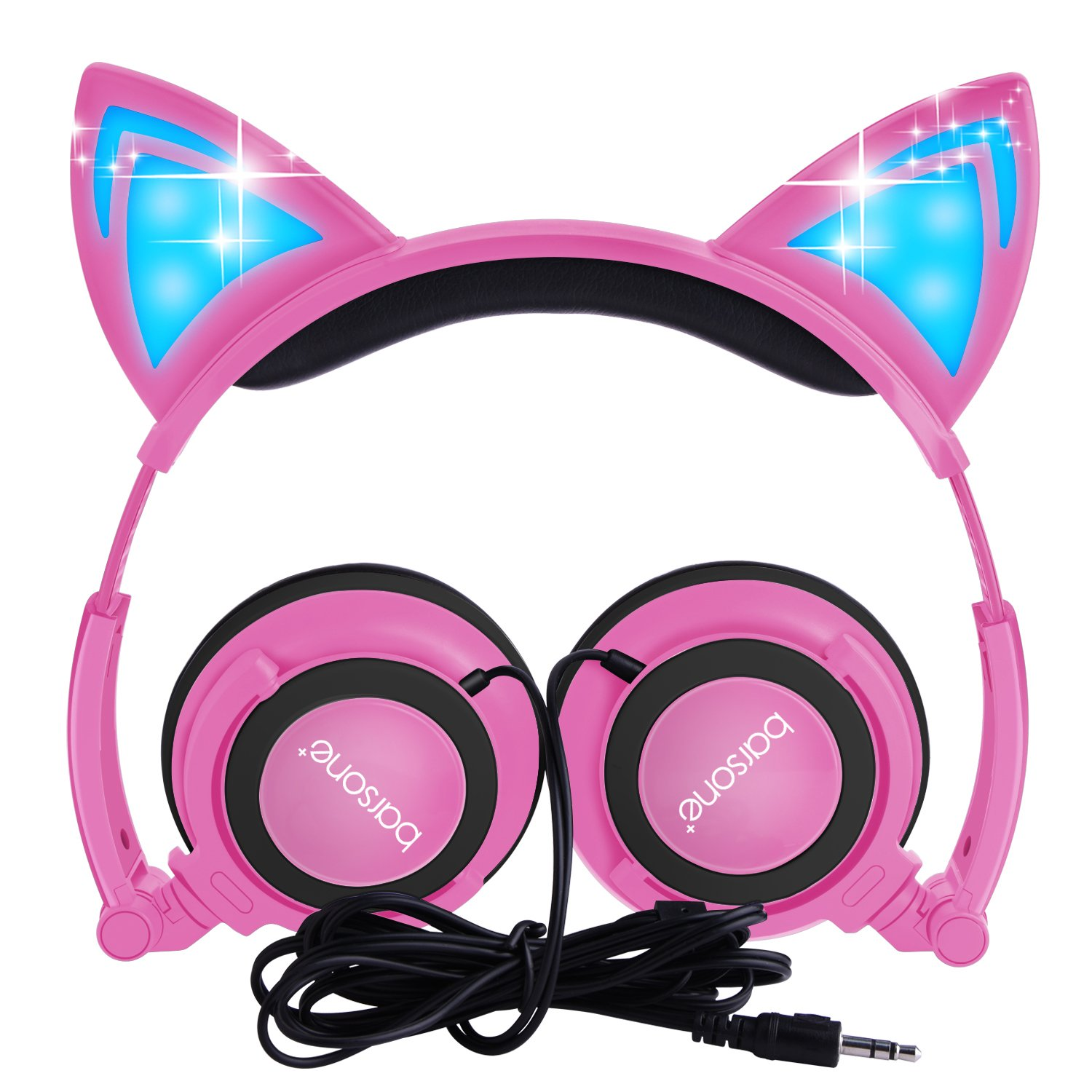 Cat Ear Headphones,barsone Kids Headphones Wired Foldable On Ear Headsets with LED Glowing Light 3.5mm Audio Jack Headset for Children (Pink)