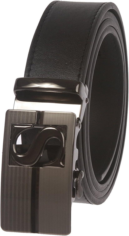 MONIQUE Men Plain Leather S Design Automatic Buckle Slide Ratchet 35mm Belt
