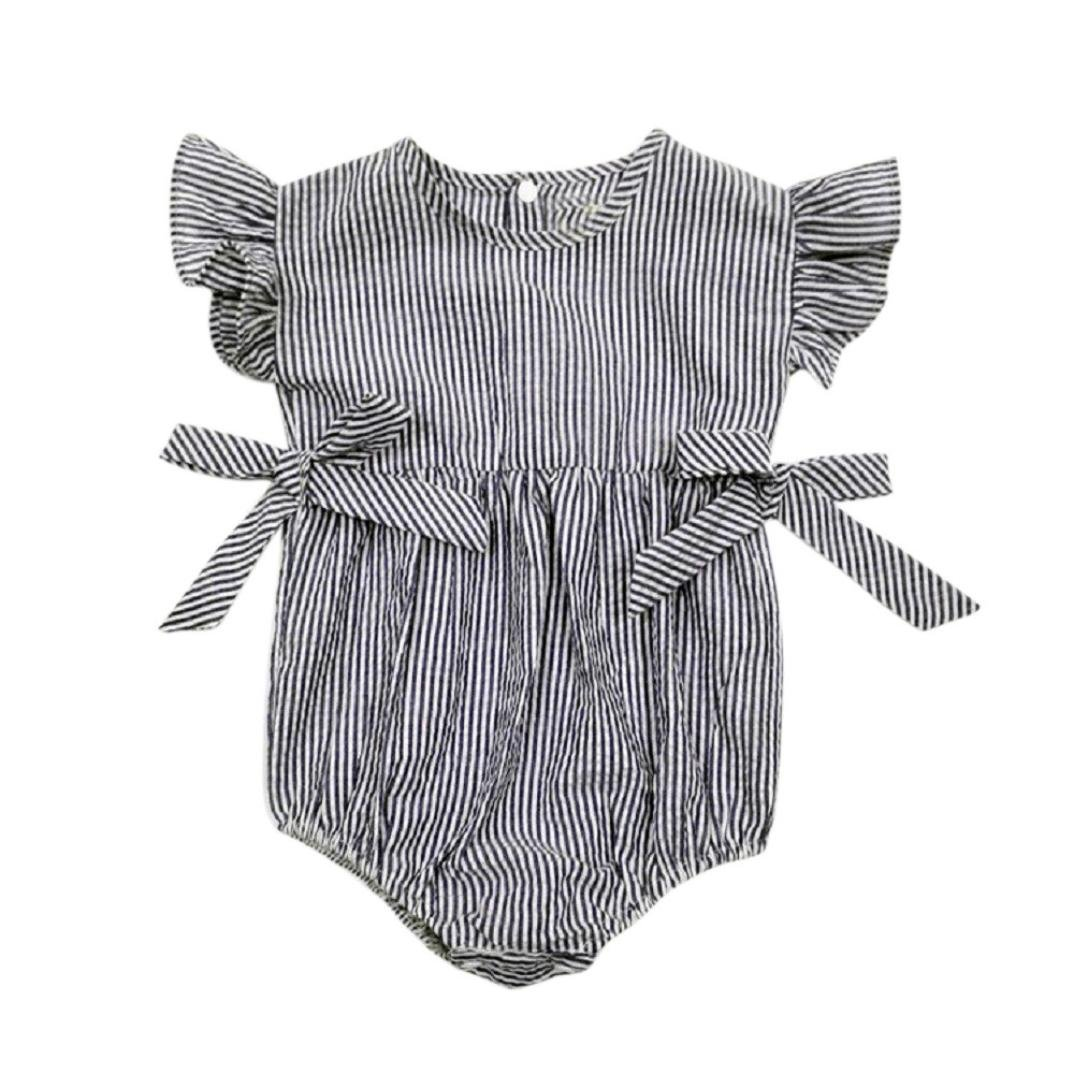 Koly Ruffled Baby Girls Rompers Striped Clothing Jumpsuit Rompers