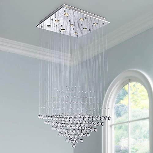 Saint Mossi Modern Crystal Raindrop Chandelier Lighting Flush Mount LED Ceiling Light Fixture Pendant Lamp