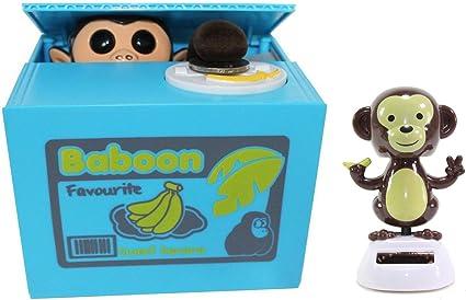 Funny Monkey Stealing Coin to Money Banana Box Bank+Solar Monkey Home Decor Gift