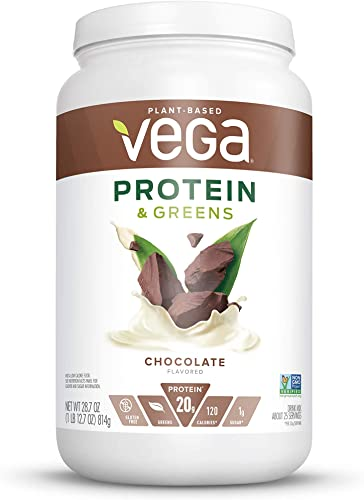 Vega Protein Greens Chocolate 25 Servings, 28.7 Ounce – Plant Based Protein Powder, Keto-Friendly, Gluten Free, Non Dairy, Vegan, Non Soy, Non GMO, Lactose Free – Packaging May Vary , Large Tub