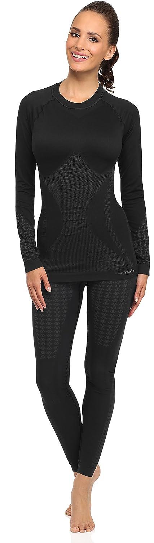 Merry Style Damen Funktionsunterwäsche Set lange Unterhose plus langarm Shirt thermoaktiv 60u10u20