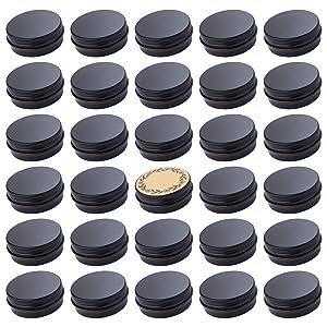 Screw Top Black Aluminum Tin Jar with Screw Lid and Blank Labels - 31pcs, 1 oz