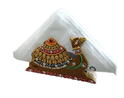 Buy Krafterra Camel Paper Napkin Tissue Paper Holder Stand For Dining Table Brown Online At Low Prices In India Amazon In