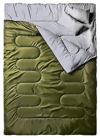 """Ohuhu® 86 """"x 59"""" Saco de Dormir Doble Enorme con 2 Almohadas"""