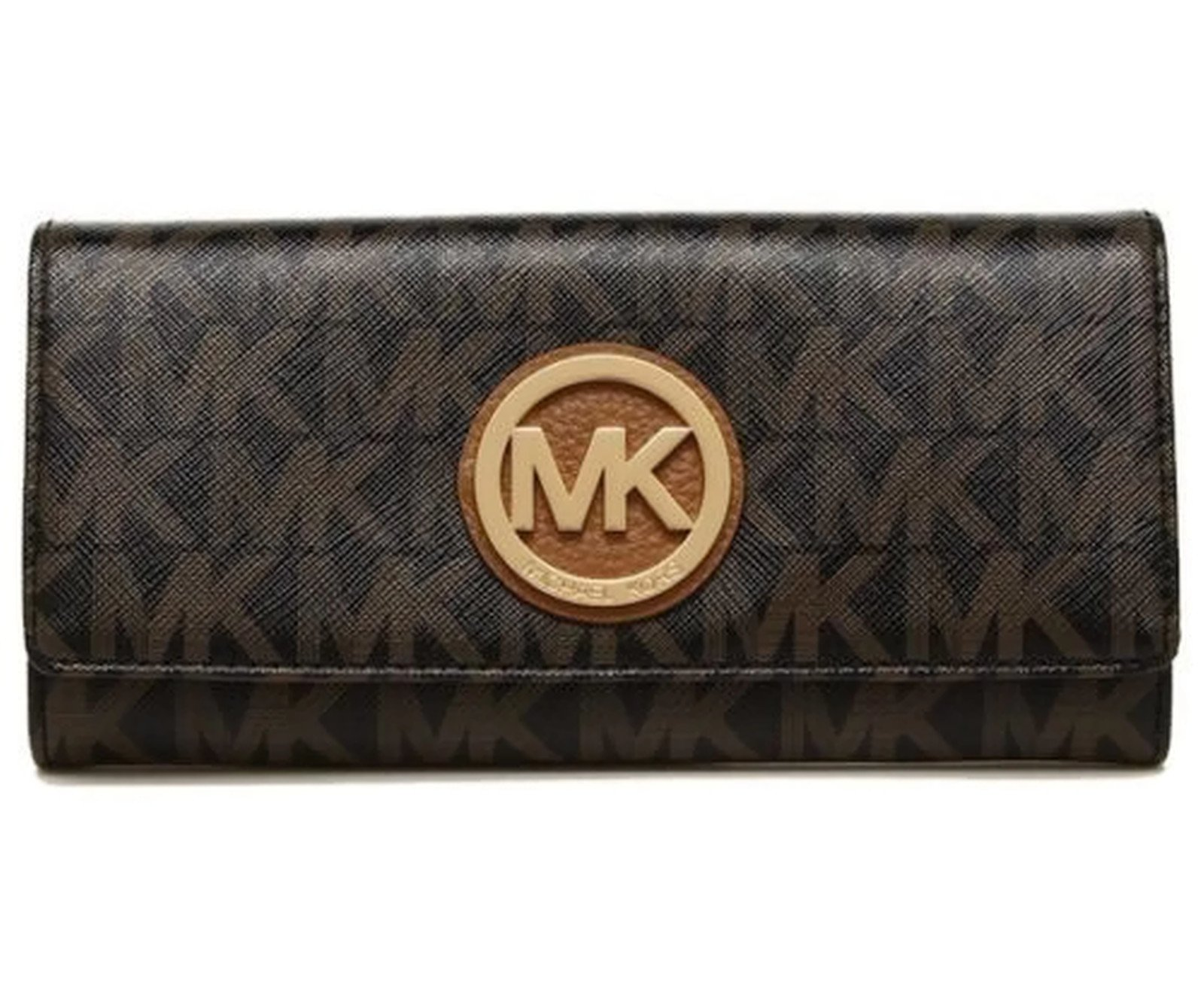 MICHAEL Michael Kors Women's FULTON Flap Continental Leather printed Wallet (Black/darkBrown)