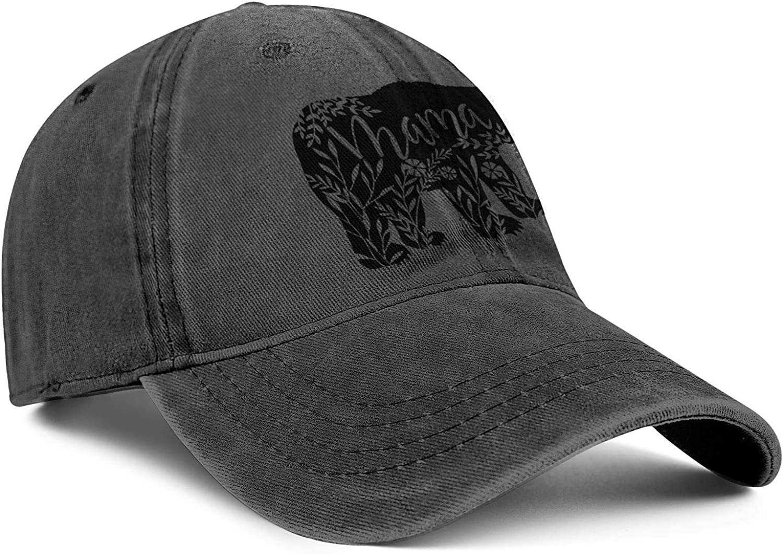 Floral Mama Bear Denim Sports Hats Men//Women Classic Cowboy Baseball Caps