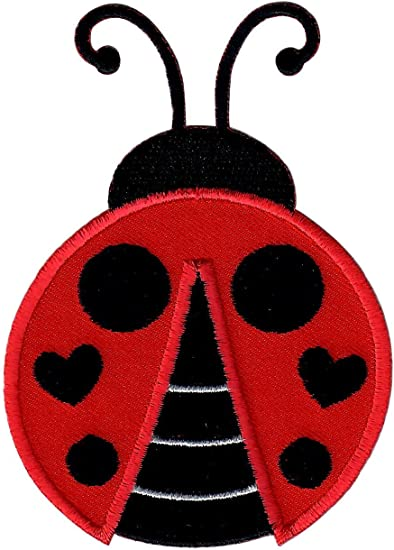 """RED SEQUIN LADYBUG 1/"""" x  1 1//2/"""" INSECT IRON ON APPLIQUE PATCH"""
