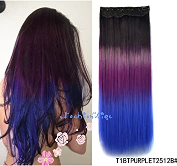 Black To Purple To Royal Blue Three Colors Ombre Hair Extension