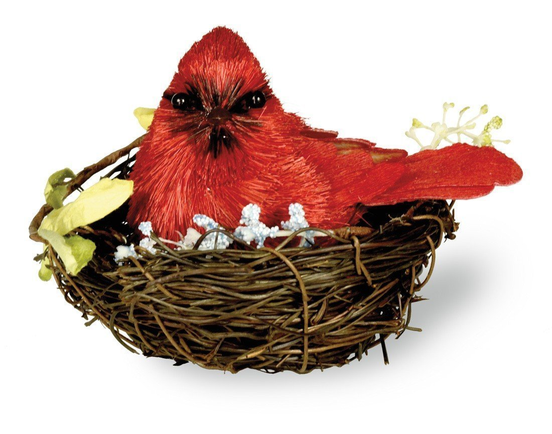 Whimsical Artificial Single Plump Red Cardinal in Nest