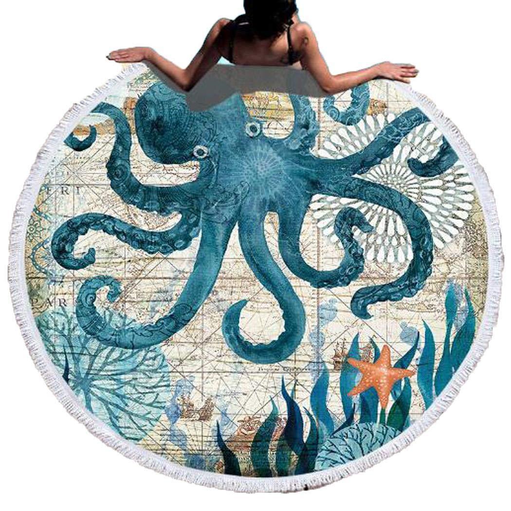 Fantiff Toalla De Playa Redonda Mundo Submarino Ducha Gruesa Toallas De Ba/ño Microfibra C/írculo De Verano Estera De Yoga 150 Cm con Borlas Estera De Picnic
