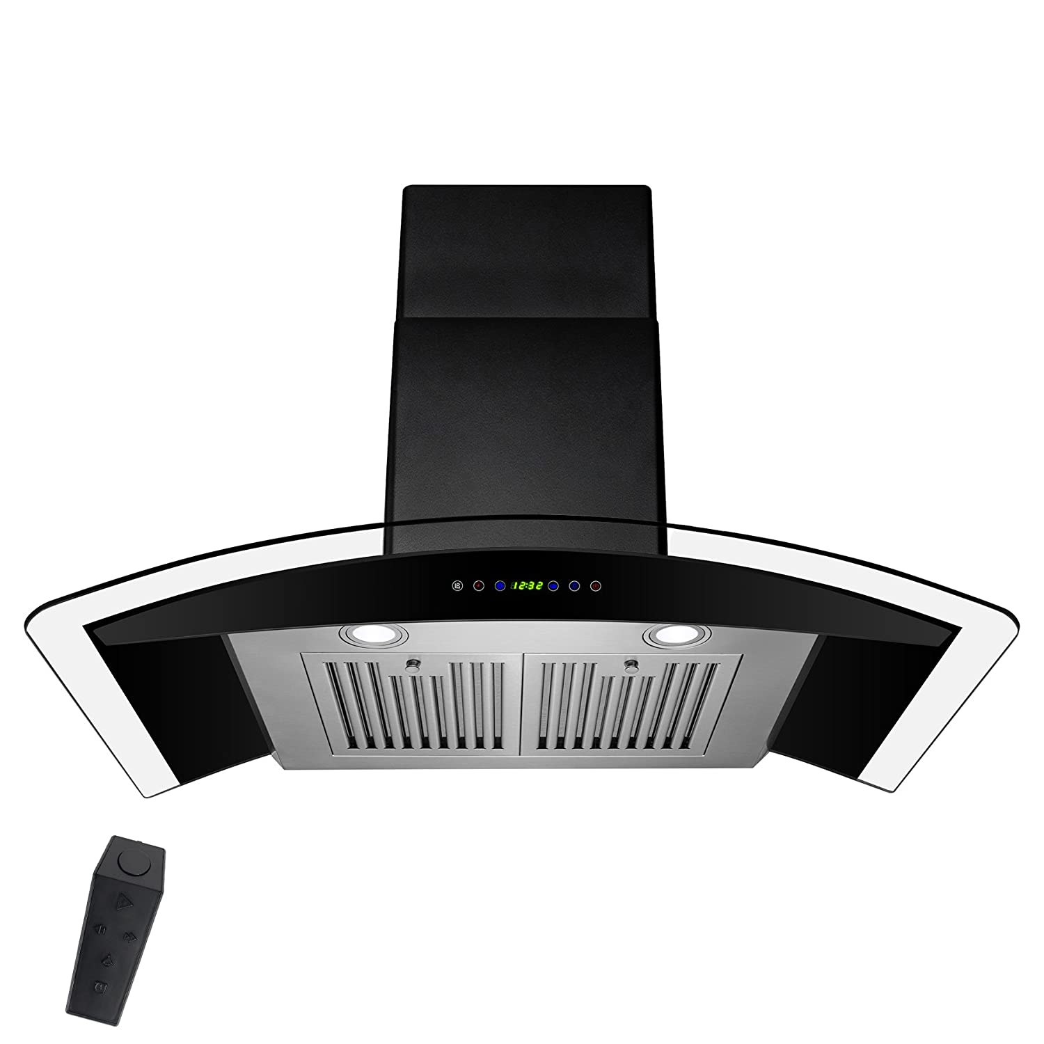 """AKDY 30"""" Stainless Steel Tempered Glass Wall Mount Kitchen Cooking Vent Range Hood With Remote Control"""