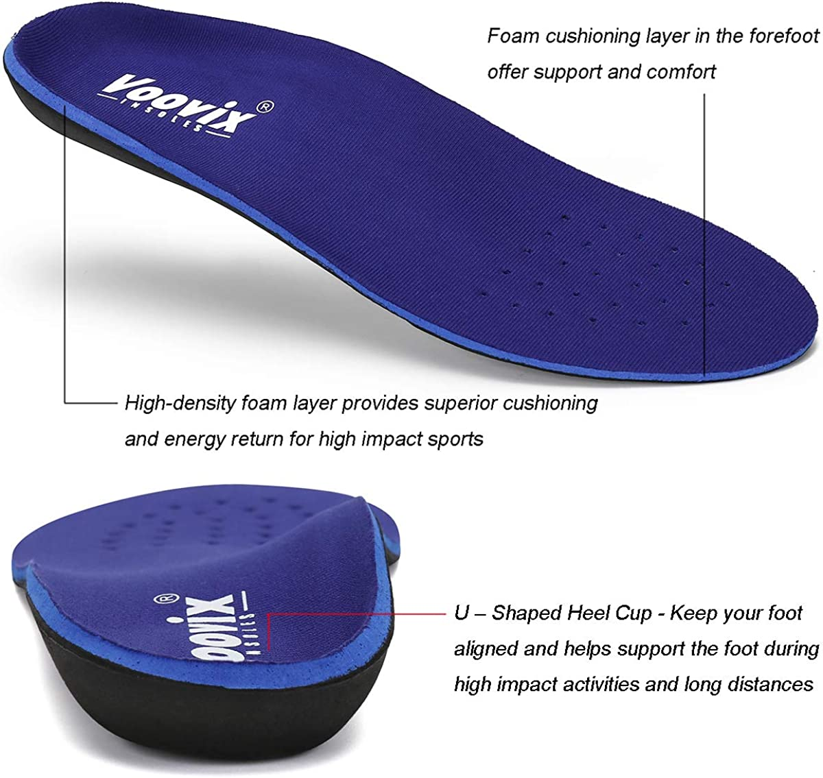 Arch Support Orthotic Insert Relieve Flat Feet Voovix Plantar Fasciitis Feet Insoles Shock Absorptation /& Cushioning Breathable Insole for Running /& Walking Foot Pain for Men Women Heel Spurs