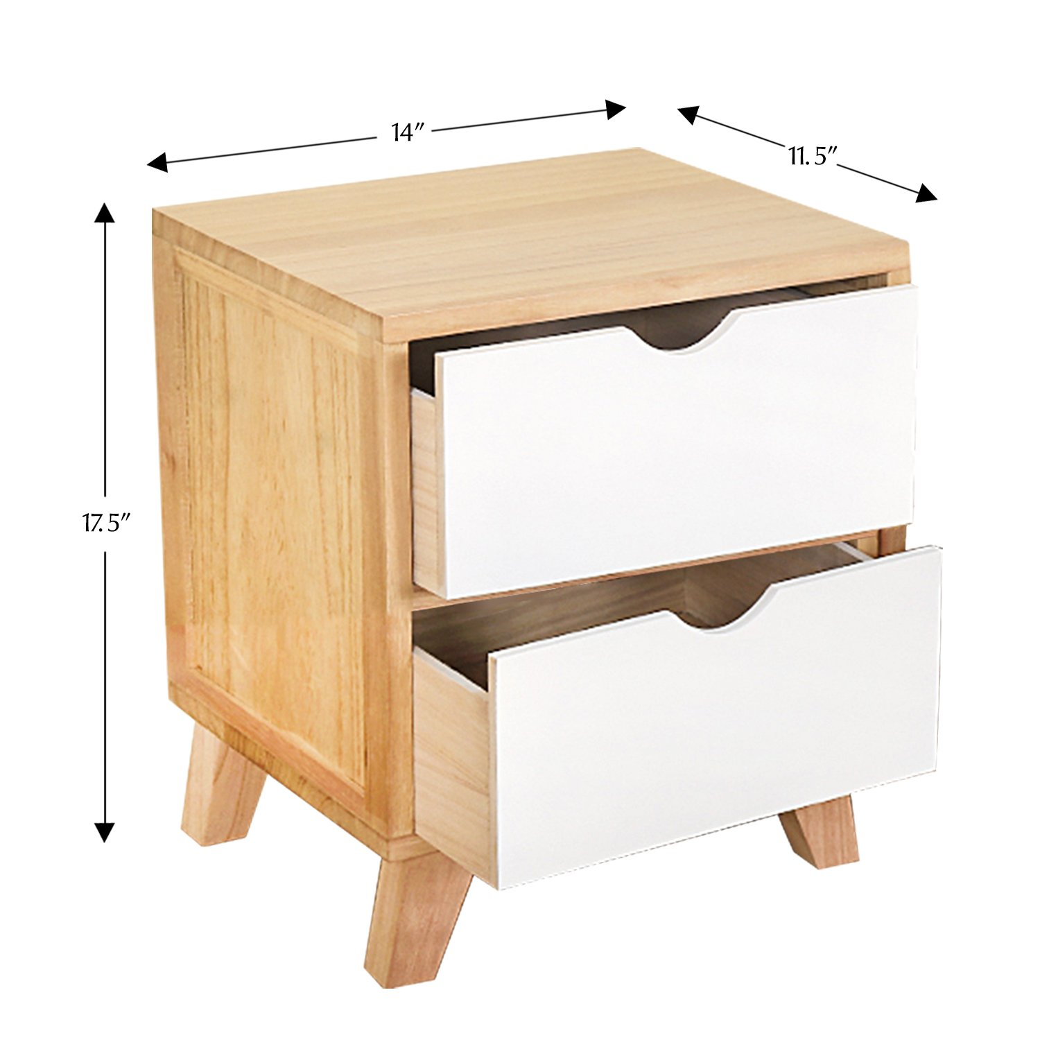 Jerry & Maggie - Nightstand - 2 Tier Curving Pattern Sides Night Stand Storage Bedside Table with 2 Drawer Real Natural Paulownia Wood (2 Tier | Cubric Style)