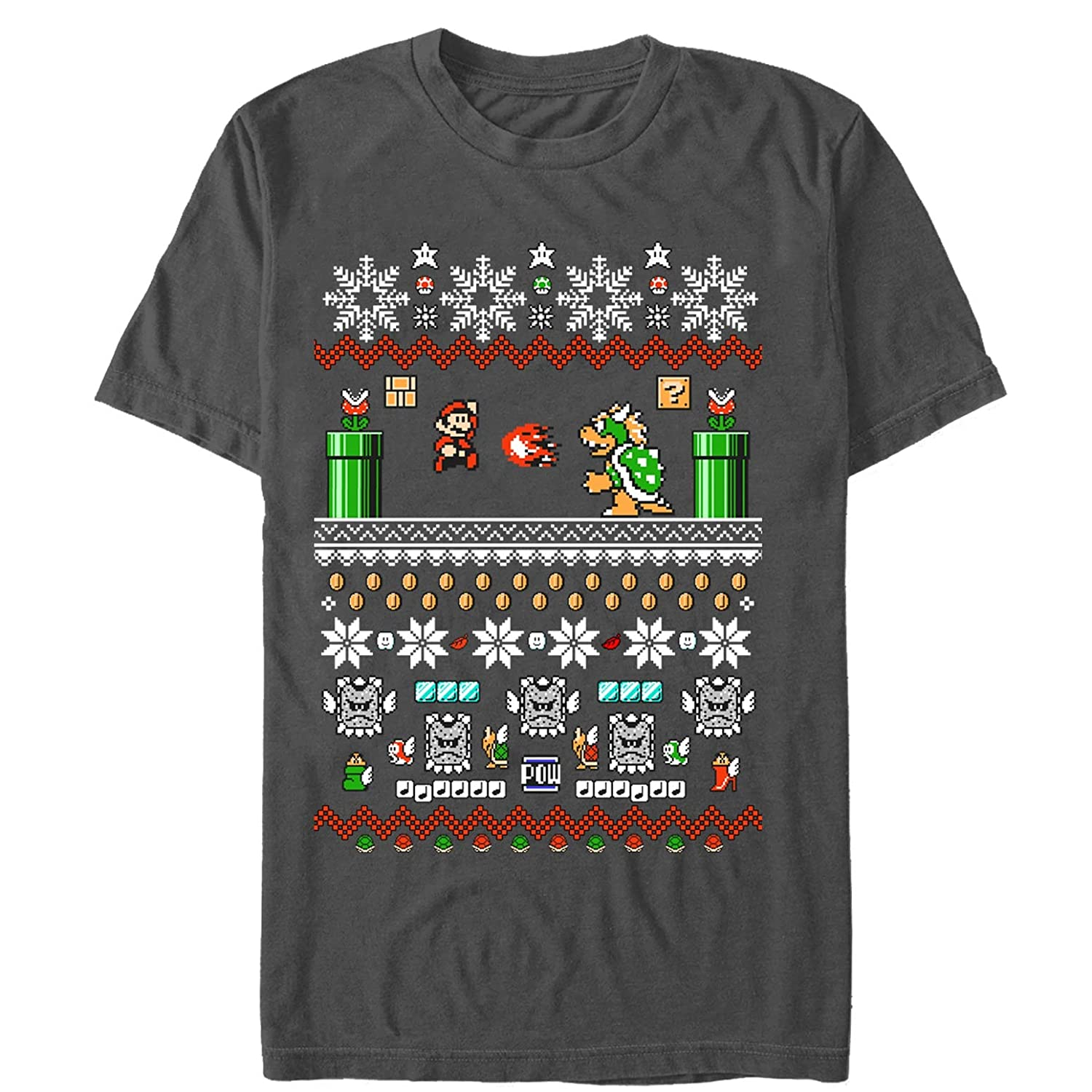 Amazon.com: Nintendo Men\'s Mario and Bowser Ugly Christmas Sweater T ...