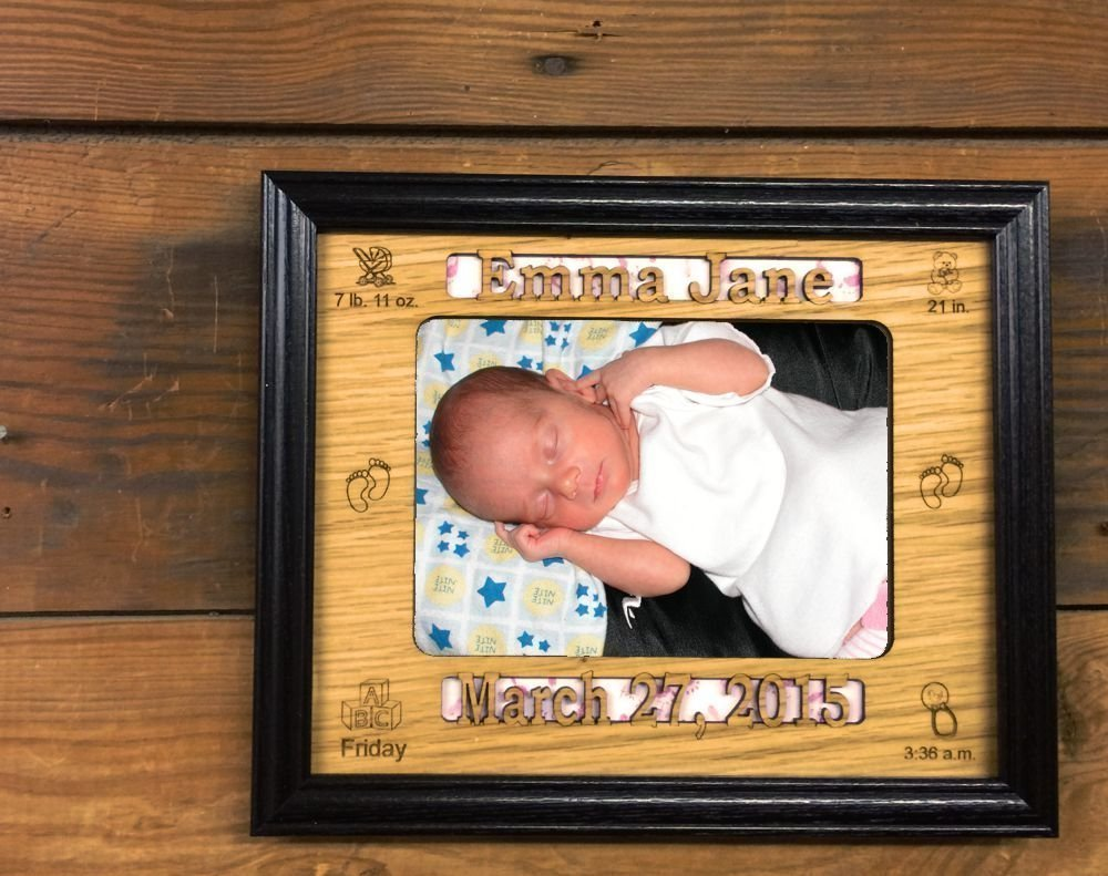 Amazoncom 8x10 Personalized Baby Stat Picture Frame Holds 5x7