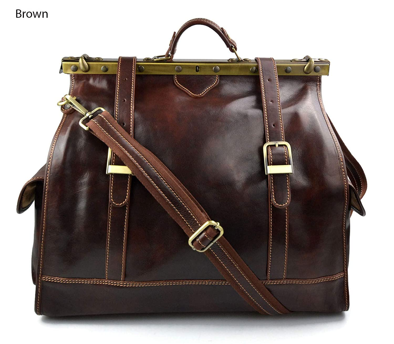 Leather doctor bag mens travel bag womens cabin luggage bag leather shoulder bag medical bag retro bag weekender brown leather carryon