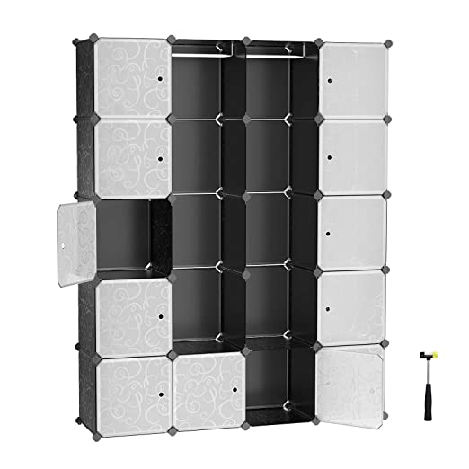 Songmics Armario De Almacenaje De Ropa Estantería Por Módulos Estructuras De Cubo Con Puerta Fácil Montaje 180 X 145 X 37 Cm Lpc30h