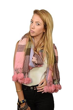 Women's Plaid Tartan scarf Wrap Shawl with Pom pom