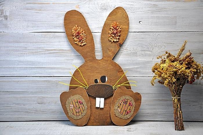 Le Lapin de Pâques en bois Décorations rustique de Pâques pour la porte  d\u0027entrée