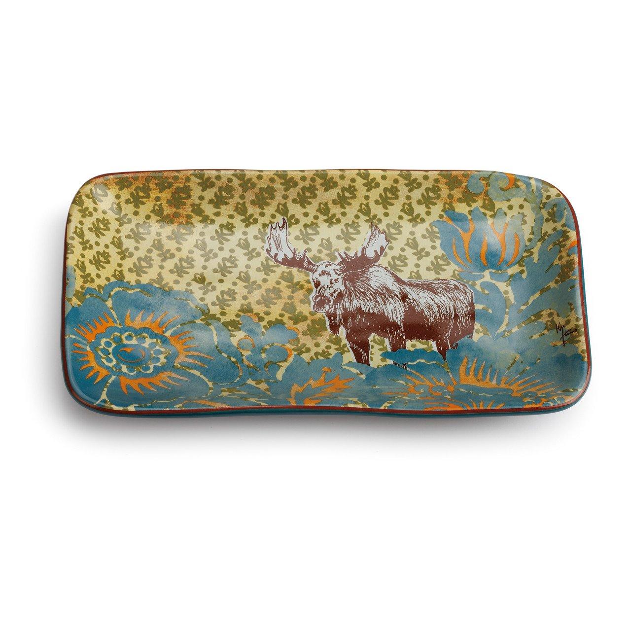 Big Sky Carvers Harros Moose Pattern Snack Plate, Multicolor
