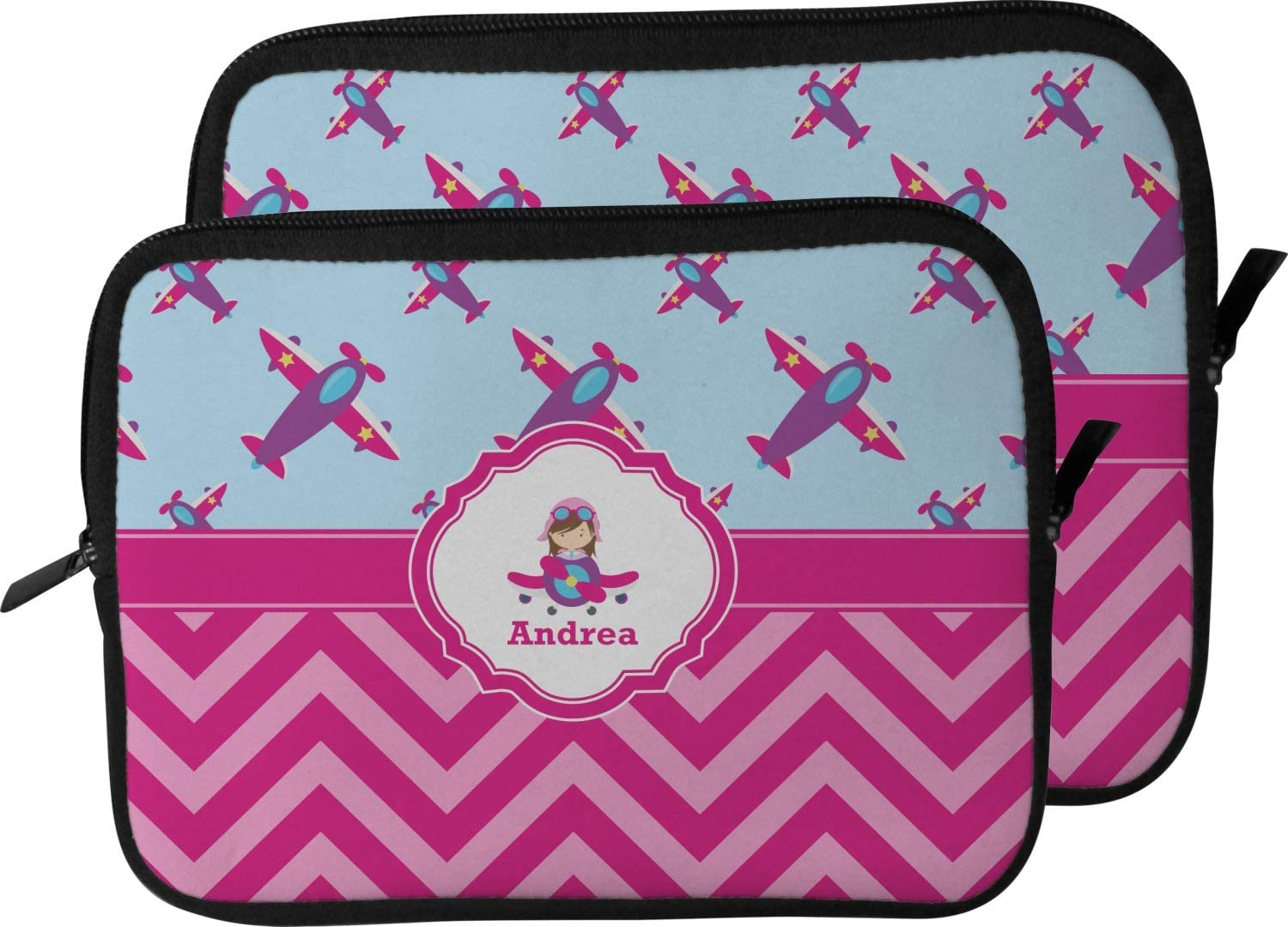 Personalized 13 for Girls Laptop Sleeve//Case Airplane Theme