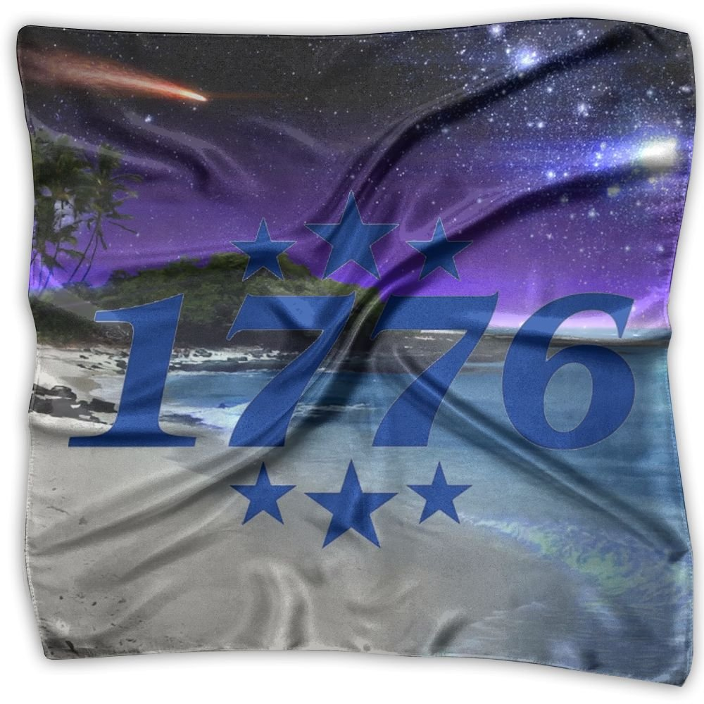 1776 Patriotic 4th Of July USA Womens Square Polyester Satin Neck Head Scarf Scarves Set