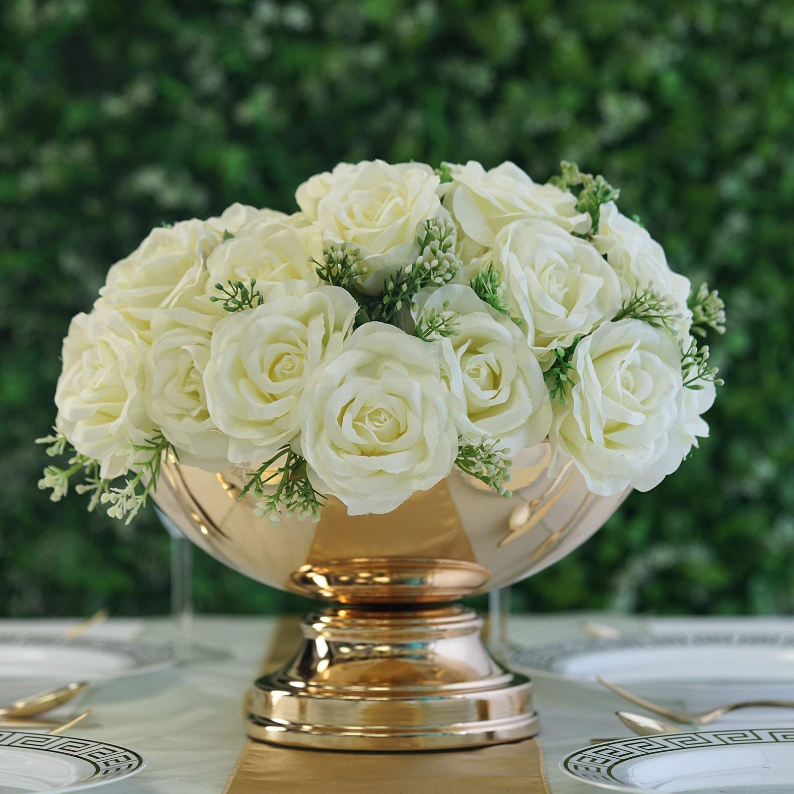 Tableclothsfactory 12'' Metallic Gold Floating Candle Pedestal Bowl Flower Pot Wedding Centerpiece for Wedding Events Decoration