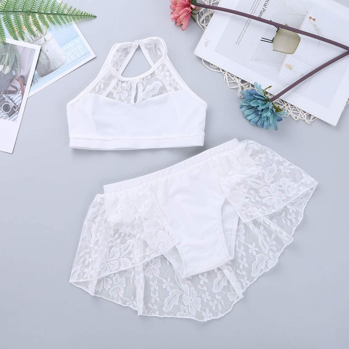 Aislor Kids Big Girls Halter Lace Crop Top with Skirted Bottom Outfits Sports Gymnastics Workout Dance Costumes