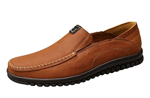 SK Studio Mens Leather Casual Slip-On Loafer Slipper Dark Brown US B(M