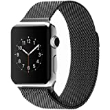 SugarCubes Milanese Loop Stainless Steel Watch Band Strap Magnetic Lock Bracelet for Apple Watch iWatch 42mm ,Black