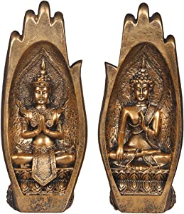 NBHUZEHUA Buddha Sitting in Hand Statue Resin Lao Thai Buddhist Figurines Home Decor Zen Gifts Gold