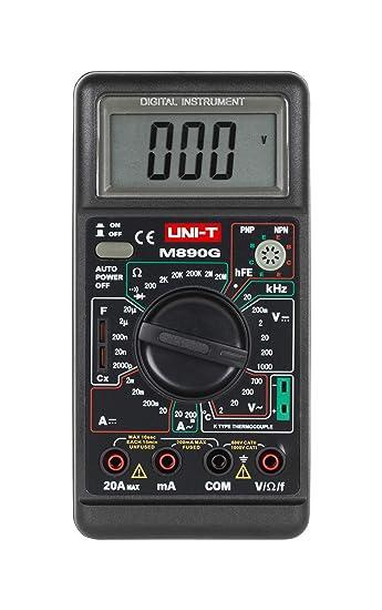 Uni T Mie0006 M890g Digital Multimeter Messung Von Ac Dc Strom Ac Dc Spannung Und Widerstand Akustischer Durchgangsprüfer Hfe Transistorenmessung Diodentest Gewerbe Industrie Wissenschaft