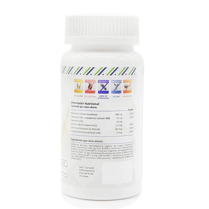 Vitaminas C, E, B6, A y D3 para aportar energía y fortalecer a nuestro organismo - Multivitaminas con Coenzima Q10 para el correcto funcionamiento del ...
