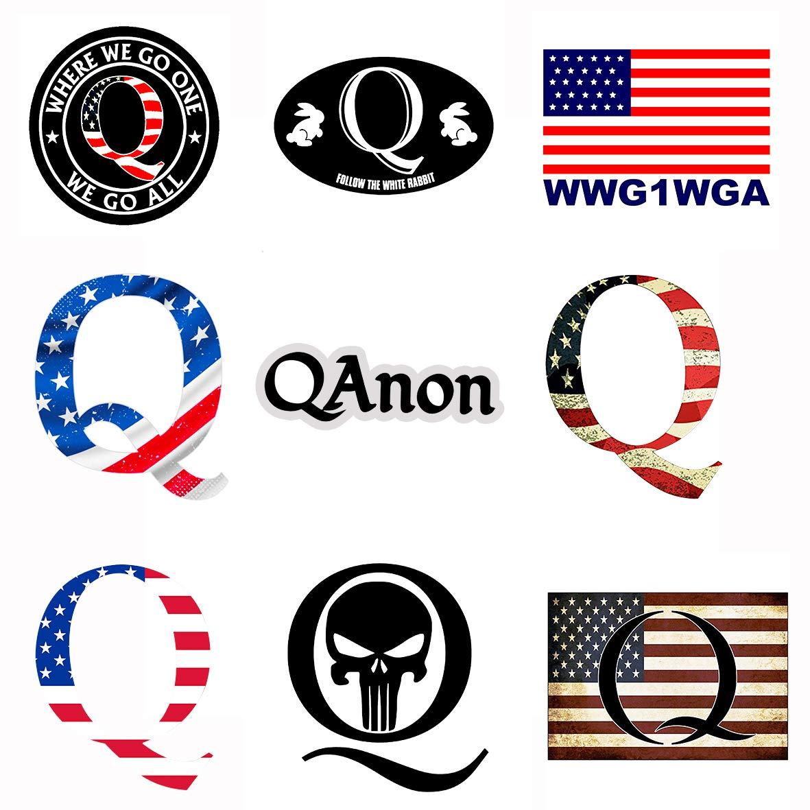 GTOTd 9-Pcs Q Shaped Bright/Vintage American Flag Sticker...