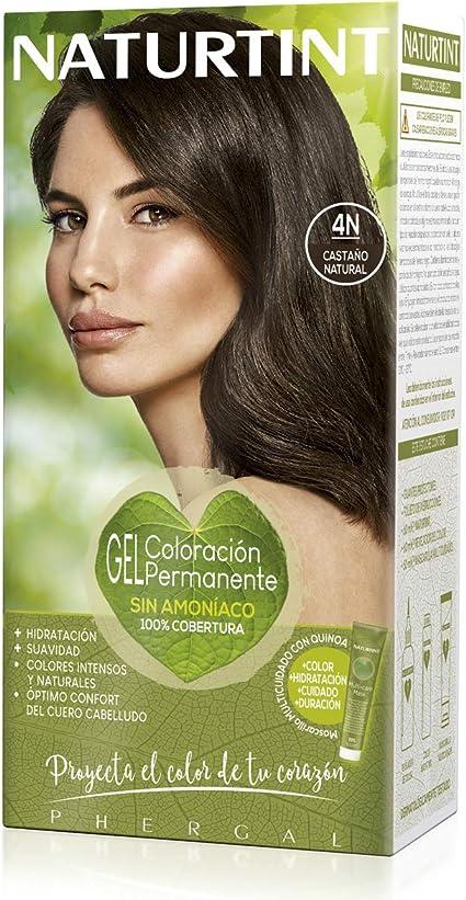 Naturtint | Coloración sin amoniaco | 100% cobertura de canas | Ingredientes vegetales | Color natural y duradero | 4N Castaño Natural | 170ml
