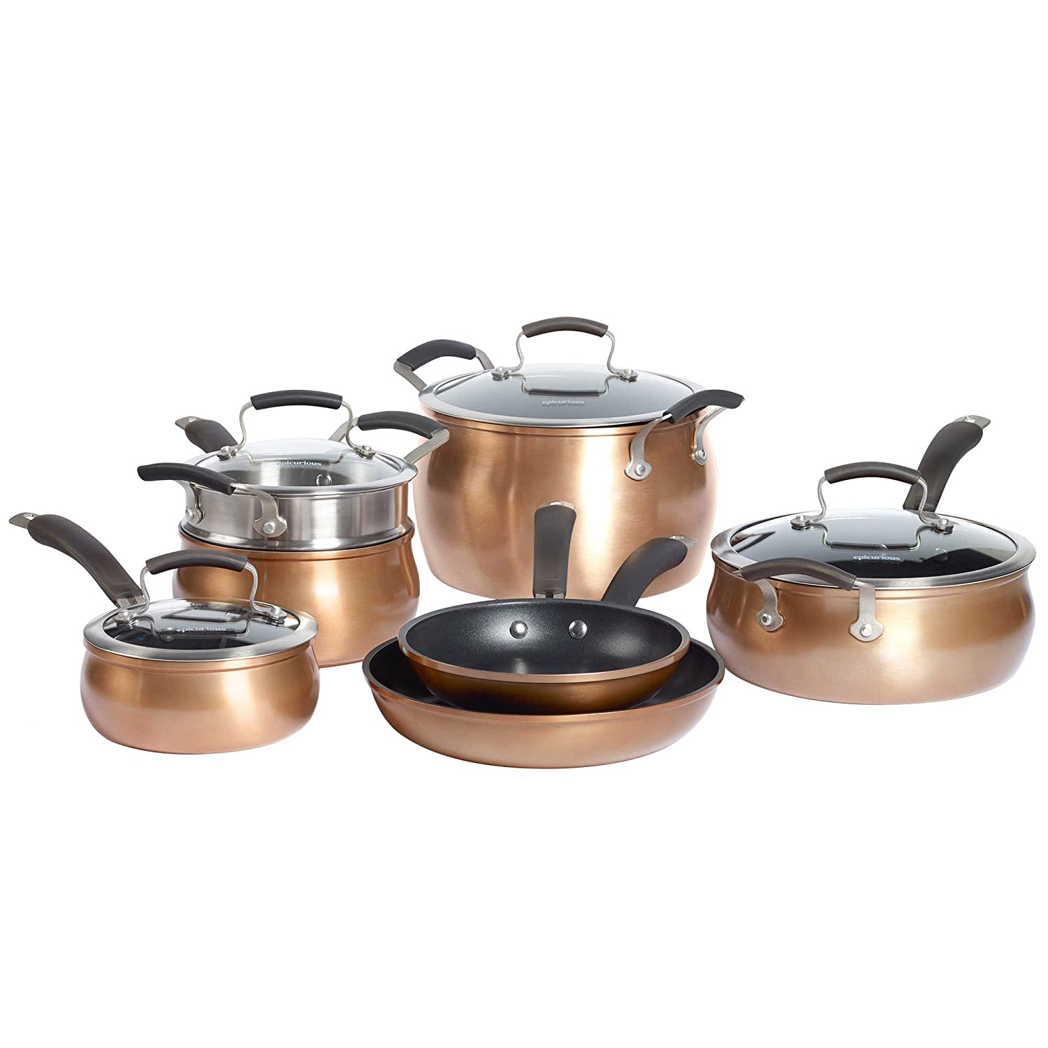 Amazon.com: Epicurious Aluminum Nonstick 11-Piece Cookware Set in ...