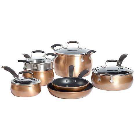 Epicurious Aluminum Nonstick 11 Piece Cookware Set In Copper