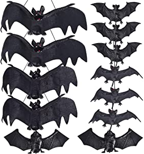 Max Fun 12pcs Halloween Décor Realistic Looking Spooky Hanging Bats with 5 Size for Halloween Party Favors and Decoration