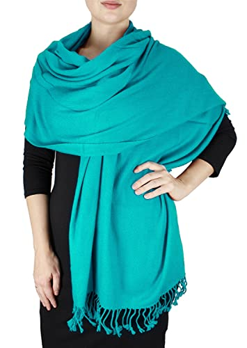 Chal lujoso y grande de cachemira pura ultra suave, bufanda para cubrir de Peach Couture turquesa tu...