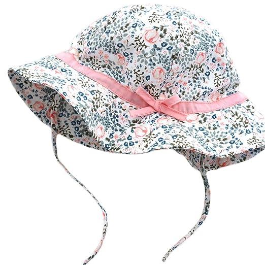 3b729391c89 Amazon.com  DANMY Baby Girl Brim Sun Protection Hat Toddler Bow Cap ...