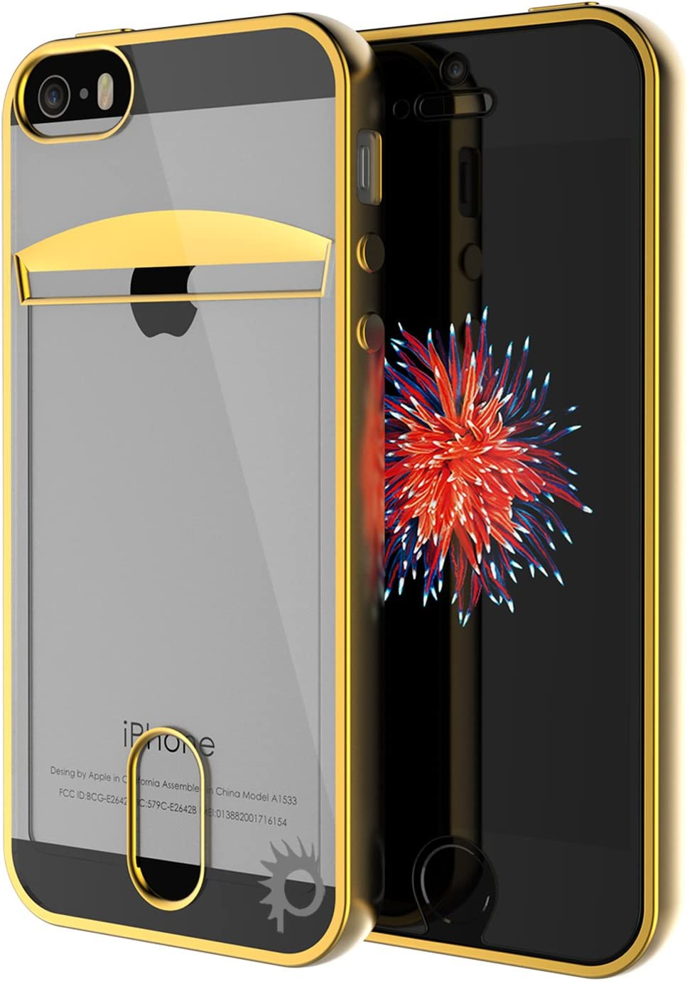 iPhone SE / 5S / 5 Case, PUNKcase [Lucid Series] Slim Fit Protective Armor Cover w/Scratch Resistant PUNKSHIELD Screen Protector-Card Slot Design for Apple iPhone SE/iPhone 5s & iPhone 5 [Gold]